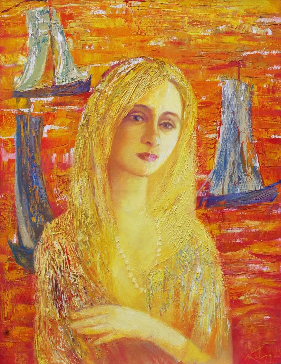 """S. Kruopis savo paveikslą """"Lietuvaitė"""" padovanojo žmonai jubiliejaus proga. Asmeninio archyvo nuotr."""