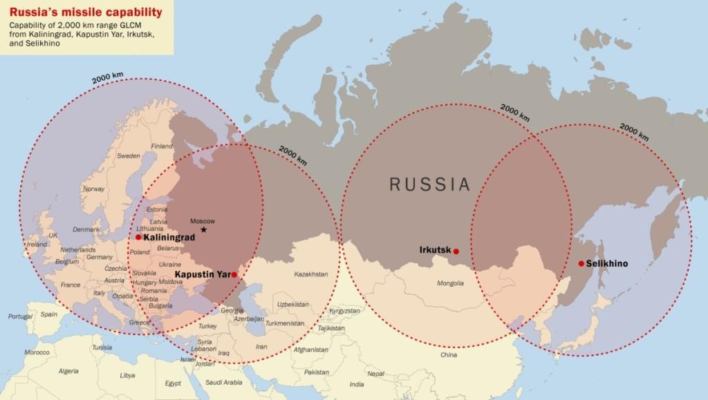 Iš sausumos leidžiamų 2 500 kilometrų nuotolio Rusijos sparnuotųjų raketų, dislokuotų prie Kaliningrado, Kapustin Jaro, Irkutsko ir Selichino, aprėpties rajonai.