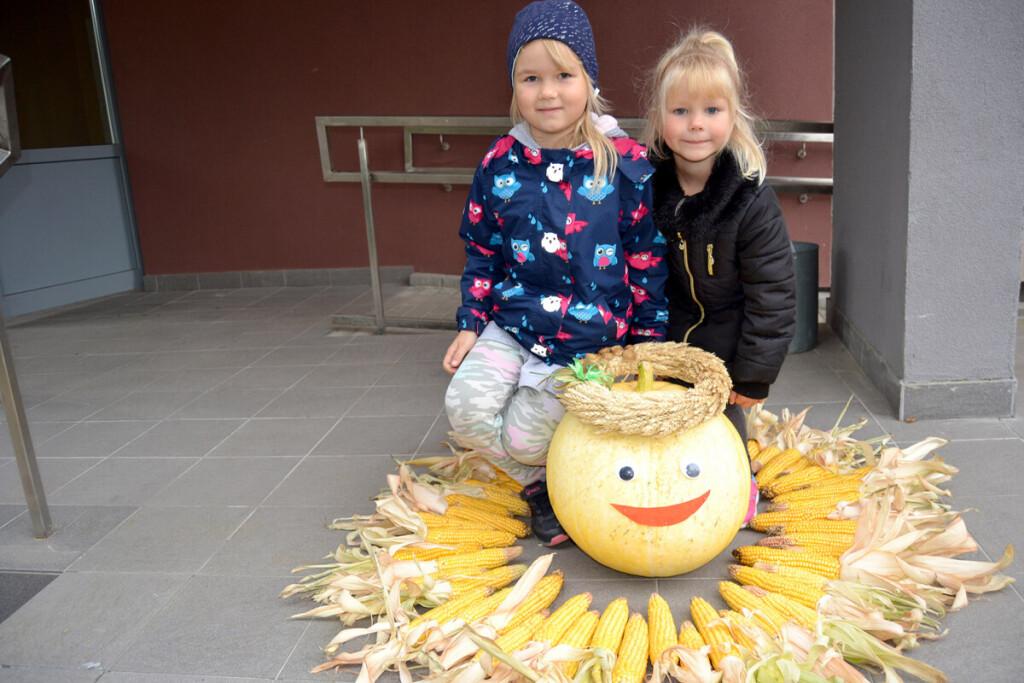 Jauniausios bulvių festivalio dalyvės, festivalio simbolio saulutės kūrėjos sesutės Lukrecija ir Tėja Jarmalavičiūtės. Reginos VAIČEKONIENĖS nuotr.