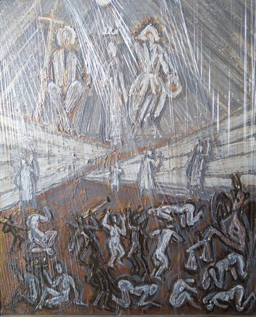 """Paveiksle """"Dangus ir pragaras"""" tapytojas vaizduoja mirusius dailininkus, kurie tapo ir danguje, o meno kritikės pragare geria vyną su velniais."""