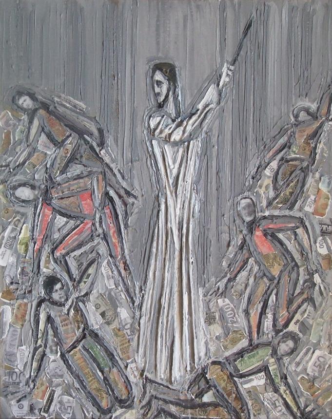 """A.Stasiulevičiaus paveikslas """"Kristus išvaro postmodernistus iš šventyklos"""" atskleidžia jo neigiamą požiūrį į šiuolaikinį meną."""