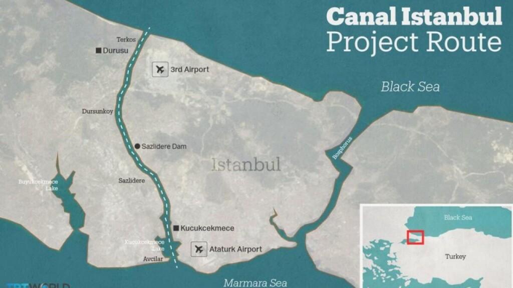 Patvirtinta būsimojo Stambulo kanalo trasa.