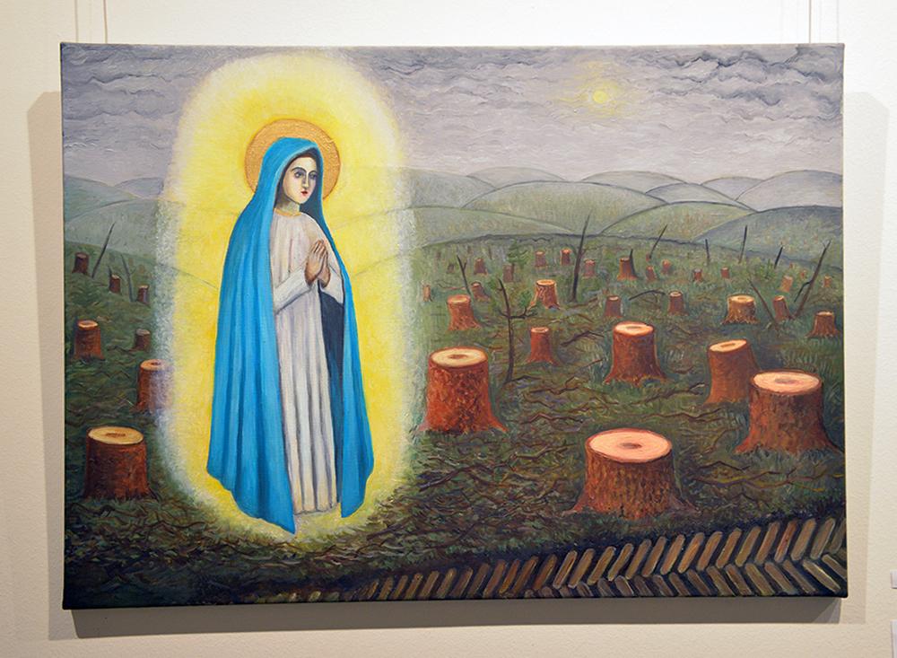 """V. Fioklos Kiurė paveikslas """"Švč. Mergelės Marijos apsireiškimas Anykščių šilelyje"""". Benedikto Januševičiaus nuotr."""
