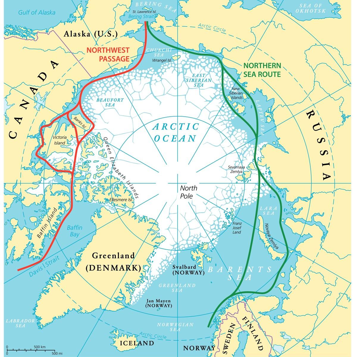 """Pažvelgus į šį žemėlapį nesunku suprasti, kodėl Kinija taip domisi """"poliariniu šilko keliu"""" į Europą."""