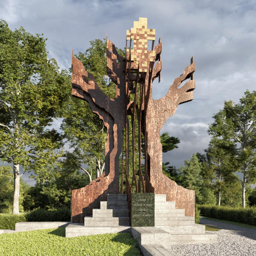 """Siekdami įamžinti istorinę atmintį, Čiobiškio, Lapelių ir Musninkų bendruomenės nariai nusprendė pastatyti monumentą """"Čiobiškio ąžuolas"""", skirtą rezistencinėms kovoms atminti."""