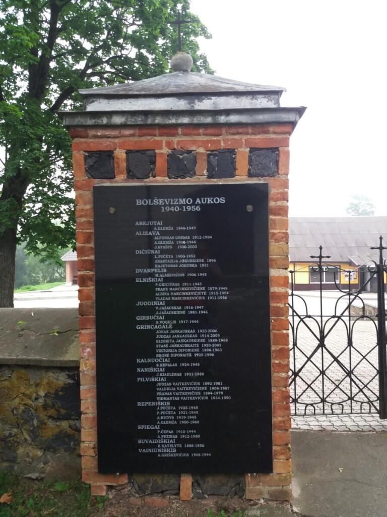 """Šv. Jono Krikštytojo bažnyčios šventoriuje – paminklinė lenta """"Bolševizmo aukos 1940–1956""""."""