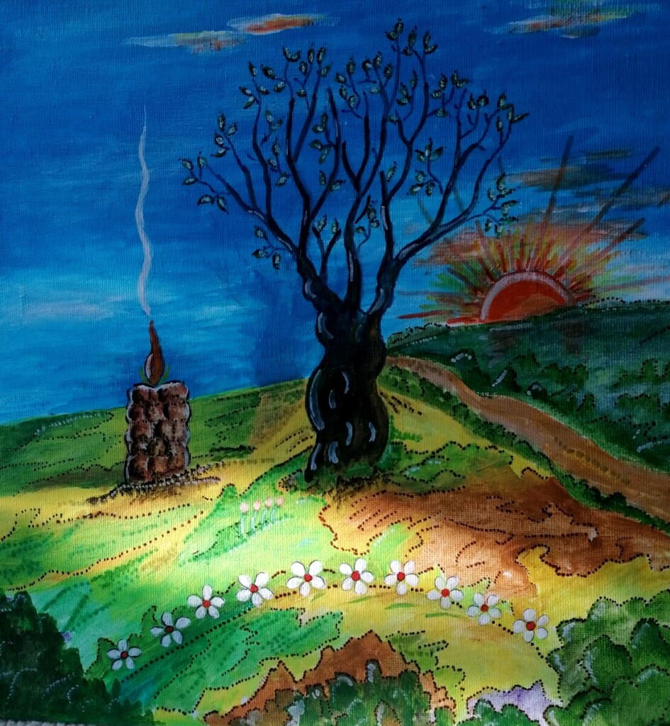 Teresės Beitienės piešiniai – tai jos jausmų ir minčių pasaulis, sukurtas iš spalvų, šviesos ir tamsos žaismo.