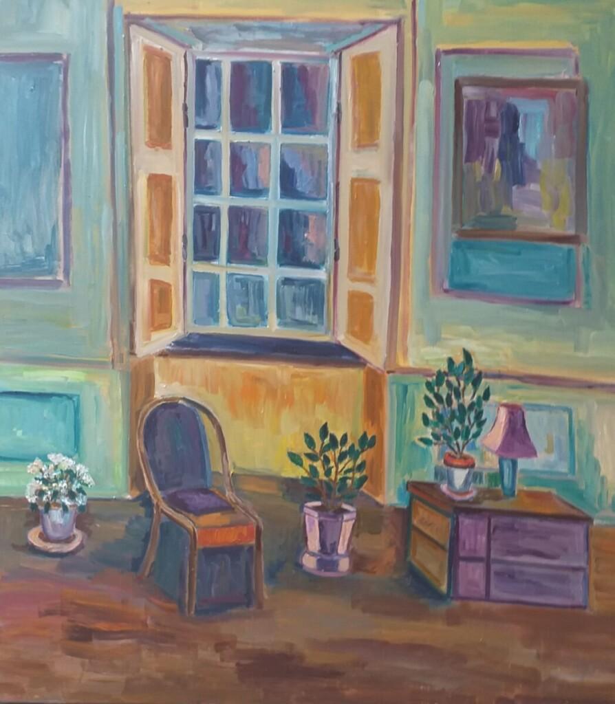 Dailininkė interjerų portretais siekė papasakoti antikvarinių baldų istoriją, parodyti paslaptingą jų grožį.